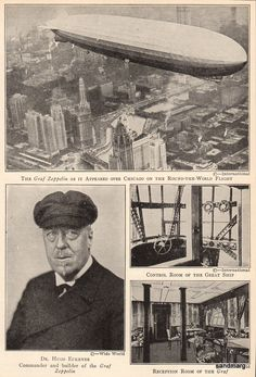 One of the highlights of the Chicago 1933 World's Fair was the arrival of the German airship Graf Zeppelin on October 1933 Zeppelin, Vintage Posters, Vintage Photos, Under The Shadow, Vintage Air, World's Fair, Historical Pictures, Long Distance, American History
