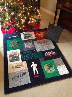 Grandpa's t-shirts designed into Christmas comfort! CampusTshirtQuilt.com