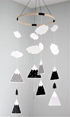This mobile will instantly transform any standard nursery into a modern and fun one. Add some of our other mountain or tree items (link below) and your baby room will have that Scandinavian look that is so trendy right now! Made with only the best cardstock (70-110lbs): lining and acid free, certified to come from sustainable forests. The main hoop is 9 in diameter. For the shapes, we transformed our mountain print (also link bellow) into a die cut and we added some hand-drawn clouds and…