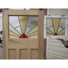 Stunning colours in this oval door. Yellow Front Doors, Wood Front Doors, Front Door Colors, Glass Front Door, Leaded Glass, Stained Glass Windows, Exterior Doors With Glass, Glass Art Pictures, Barn Wood Projects