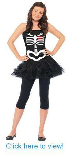 Smiffys Tween Girls Skeleton Tutu Dress Kids Halloween Costume XL