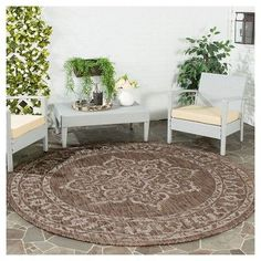 Loire Rectangle 2'3X8' Runner Outdoor Patio Rug - Brown / Beige - Safavieh