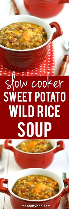 This easy slow cooker sweet potato wild rice soup is perfect for fall!