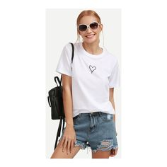 SheIn(sheinside) White Heart Print T-shirt ($8) ❤ liked on Polyvore featuring tops, t-shirts, white, white short sleeve top, cotton blend t shirts, stretch t shirt, white short sleeve t shirt and sleeve t shirt