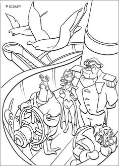 Coloring page of the disney movie Treasure planet. Color the Treasure Planet Crew.
