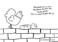 illustration de la comptine, une poule sur un mur