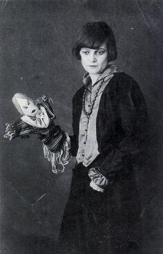 Emmy Hennings with puppet.    Zurich, 1917