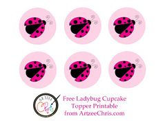 Free Dark Pink Ladybug Cupcake Toppers Printable I designed.