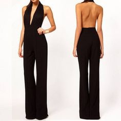 Sexy Women Halter Lace Open Back Pants Deep V Party Club Evening Jumpsuit Romper Backless Jumpsuit, Casual Jumpsuit, Black Halter Jumpsuit, Jumpsuit Style, White Jumpsuit, Black Romper, Casual Pants, Rompers Women, Jumpsuits For Women