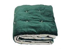 En-fil-dindienne - Edredon bout de lit velours Vague - Vert-Cypres - 90x200 cm
