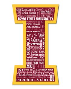 "Original artwork using words to describe ""IOWA STATE UNIVERSITY"" -- Show off your Cyclone's pride in your home/dorm room/office with this print that details the many words for all things Cardinal & Gold like Ames, ISU, Hilton Magic, VEISHA, Campustown and more. Come visit the Lexicon Delight Etsy store!"