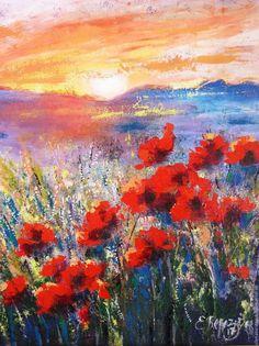 Картины цветов ручной работы. Ярмарка Мастеров - ручная работа. Купить картина цветов маки на холсте в раме для интерьера летний пейзаж. Handmade.