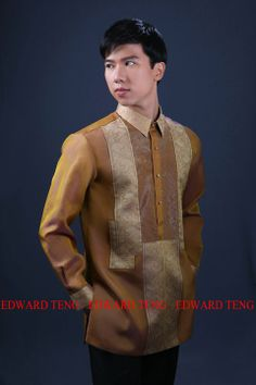 In the Philippines, Barong Tagalog is the traditional Filipino formal wear for men. It is usually made of piña or jusi- two native fabri. Barong Wedding, Barong Tagalog, High Fashion, Mens Fashion, Wedding Trends, Wedding Ideas, Wedding Suits, Formal Wear, Shirt Designs
