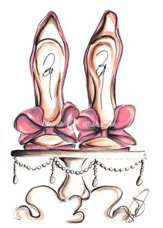 "Bridal shoes art Fashion illustration by DorinusIllustrations - More illustrations LINE BOTWIN ""girly illustrations"""