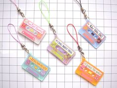 """p-curlyart: """"My Anime Theme Song Cassette Tapes are up for preorder by popular demand! cassette is available too! All current orders, preorder and in-stock will not be sent out. Acrylic Keychains, Acrylic Charms, Resin Charms, Cute Keychain, Diy Keyring, Kpop Diy, Kawaii Accessories, Mini Things, Cute Pins"""