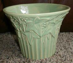 Vintage Art Pottery Flaired McCoy Ivy Flowerpot Flower Pot Vase Semi Matte Green | eBay