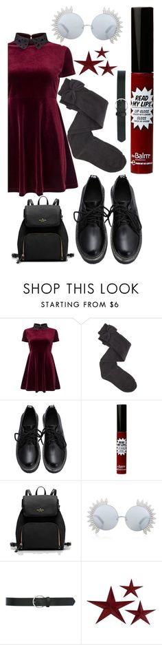 """""""wine and black"""" by solstephaniesierra on Polyvore featuring Miss Selfridge, Charlotte Russe, TheBalm, Linda Farrow and M&Co"""
