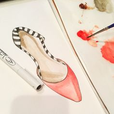 New piece in progress! #fashion #illustration #illusterations #art #fashionillustration #summer #love #shoes #flats #painting #notecards #stationary @expressrunway