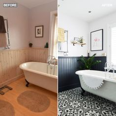 Bathroom make-over - dated to statement. Inspired by the origins of this Victorian terrace house, the owners have given this dated bathroom a modern makeover with statement tiles. Via Ideal Home magazine. Home Renovation, Home Remodeling, Bathroom Paneling, Bathroom Flooring, Black Bathroom Furniture, Bathroom Lino, Painting Bathroom Tiles, Bathroom Cladding, Victorian Terrace House
