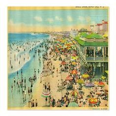 Atlantic City Beach Postcard Shower Curtain > Korpita Coastal and Urban Chic Shower Curtains > Rebecca Korpita Coastal Design