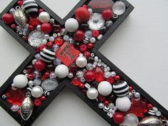 Love this Texas Tech Red Raiders Embellished Cross Mosaic Crosses, Wooden Crosses, Wall Crosses, Tech Football, Lubbock Tx, Texas Tech University, Texas Tech Red Raiders, Cross Crafts, Arts And Crafts