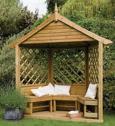 Forest Garden Half Burford Wooden Corner Arbour Seat