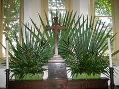 Palm arrangement for Palm Sunday. From Chapel of the Cross. Palms and forsythia
