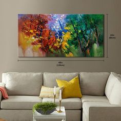 Abstract Wall Painting, expressionism Textured Painting,Impasto Landscape Painting ,Palette Knife Painting on Canvas by RHB Size: 24x48x1.2 [60x120x3cm] Stretched thickness: 1.2 (3cm ) Framed / Stretched ( Ready to hang! ) The sides are staple-free and are painted black. It is ready to hang