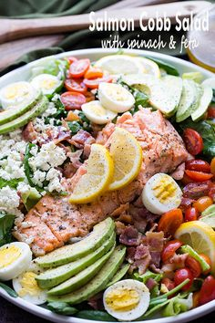Salmon Cobb Salad with Spinach and Feta