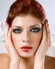 Evening glam makeup for auburn hair