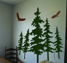 Vinyl Wall Decal Art Sticker with Pine Trees and Eagles. $95.00, via Etsy.