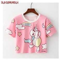 8b936acab RAISEVERN Rainbow Unicorn T Shirt Women Short Harajuku Short Sleeve Kawaii  Summer Tops Tees Casual Girls