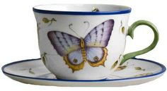 Butterfly Blue Tea Cup and Saucer