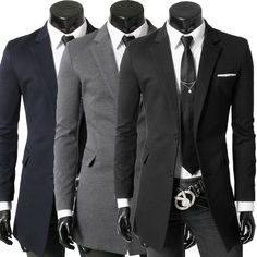 New Brand 2014 Fashion Blazer Men,Casual Slim Medium-long suit/ jacket/Coat Black 3 colorS XXL Plus size WholesaleDrop shipping