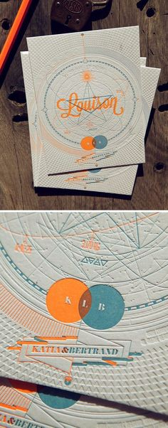 Very nice (and E would love science), but pinned bc wrong shades or orange and blue and no transparent ink with LP.  30 cartes de visite avec une finition en letterpress | BlogDuWebdesign