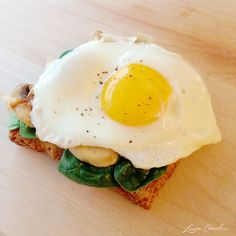 Egg Sunny Side Up, Spinach & Mushrooms  This egg and veggie combo gives your body everything it needs in the mornings. The bread will keep y...