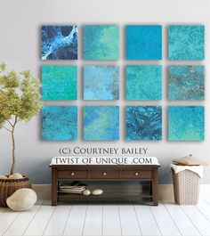 Ocean and Sea Abstract Painting, 12 square Custom abstract artwork, abstract wall art,- Blue, green, white,