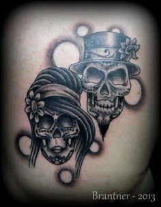 Bride and Groom Sugar Skulls tattoo by BrantnerTattoo74