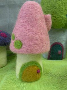 Mushroom Fairy HouseWaldorf inspired needle felt by moonforest