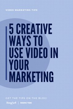 5 Creative Ways to Use Video in Your Marketing Strategy - Rising Tide - Marketing expert and HoneyBook Educator Jordan Jones shares her tops tips for creative ways to inte - Marketing Approach, Content Marketing Strategy, Small Business Marketing, Marketing Plan, Marketing Tools, Online Marketing, Marketing Network, Strategy Business, Business Ideas