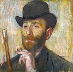 Edgar Degas (French painter) 1834 - 1917 Portrait de Zacharian, ca. 1885 pastel on paper laid down on the artist's board 15 5/8 x 15 5/8 in. (39.7 x 39.7 cm.) private collection