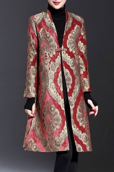 Shop duowa floral single button long floral coat here, find your coats at dezzal, huge selection and best quality. Batik Fashion, Hijab Fashion, Fashion Dresses, Coat Dress, Jacket Dress, Dress Up, Iranian Women Fashion, Womens Fashion, Batik Blazer