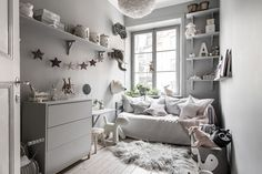 Tour a Serene and Spacious Stockholm Home with a Modern Chic Style (Nordic Design) Creative Kids Rooms, Cool Kids Rooms, Deco Kids, Gravity Home, Decor Room, Kids Decor, Decor Ideas, Kids Bedroom, Baby Bedroom
