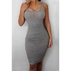 $11.13 Stylish Scoop Neck Sleeveless Gray Tank Dress For Women