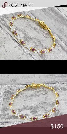 "18KT gold over 925 Garnet & diamond Stunning!!! 18KT gold over 925 Sterling Silver with Garnet and genuine ( .02ctw ) diamond tennis bracelet  7.5"" long 925 Jewelry Bracelets"