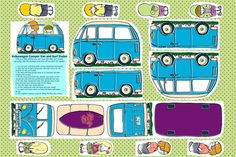 """""""Campervan and the Surfies fabric by woodle_doo on Spoonflower - custom fabric  A soft toy Campervan with it's surf dude driver and passengers. The little dudes fit in a little pockets on either side of the campervan, so encouraging a little fun and imagination. Having created some dolls here on Spoonflower previously, I thought it might be cool to create something for the boys to play with (but girls will love it as well!) encouraging a little fun and imagination…"""