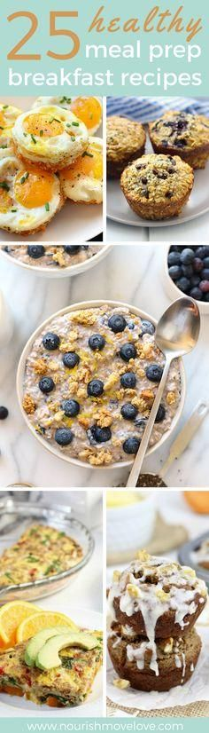 25 healthy breakfasts that you can meal prep for the week. Savory and sweet options that will satisfiy and keep you full all morning long. All natural, clean ingredients, simple recipes. Egg   sweet potato hash brown cups, protein muffins, overnight oats, vegetable egg bake, banana muffins.