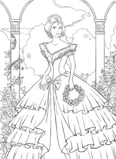 free coloring pages for girls frozen dresses | Ball gown coloring page for girls, printable free ...