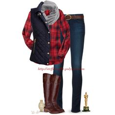 """""""Vest, Plaid, Knit scarf & Riding boots"""" by steffiestaffie on Polyvore"""
