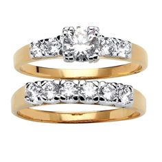 Size 7 18K Yellow Gold Silver 1.39ctw White Natural Zircon Eternity Band Ring